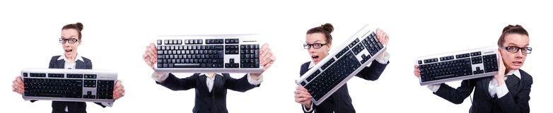 The nerd businessman with computer keyboard on white Royalty Free Stock Photography