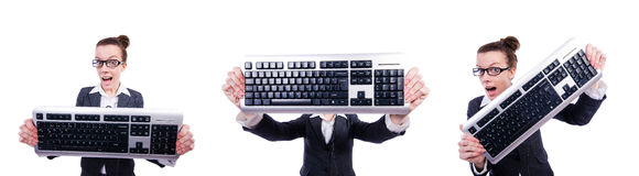 The nerd businessman with computer keyboard on white Royalty Free Stock Photos