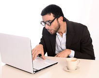 Nerd businessman in funny glasses at work Royalty Free Stock Photo
