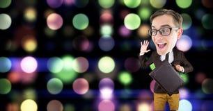 Nerd businessman gesturing against defocused lights. Digital composite of Nerd businessman gesturing against defocused lights Royalty Free Stock Photography
