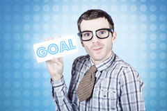 Nerd businessman holding goal sign board Royalty Free Stock Image