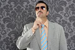 Nerd businessman pensive gesture silly funny retro. Wallpapaer background Royalty Free Stock Photos