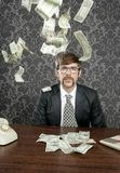 Nerd businessman retro office flying dollar note. S vintage wallpaper Royalty Free Stock Images