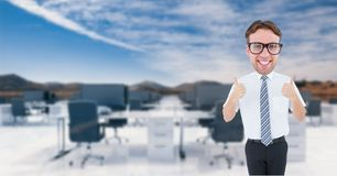 Nerd businessman showing thumbs up Stock Photo