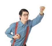 Nerd businessman superhero Stock Photo