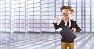 Nerd businessman waving hand in office. Digital composite of Nerd businessman waving hand in office Royalty Free Stock Photo