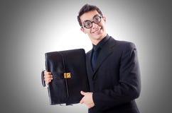 Nerd businessman. On the white Stock Photos