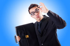 Nerd businessman. On the white Royalty Free Stock Photography