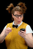 Nerd and calculator stock images
