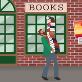 Nerd carrying books Royalty Free Stock Photo