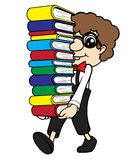 Nerd Carrying Pile of Books Stock Image