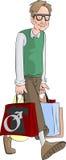 Nerd carrying shopping bags Stock Image