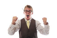 Nerd cheering Royalty Free Stock Image