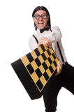 Nerd chess player isolated Stock Photography