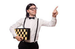 Nerd chess player isolated Royalty Free Stock Photos