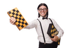 Nerd chess player isolated Stock Photos
