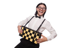 Nerd chess player isolated Stock Images