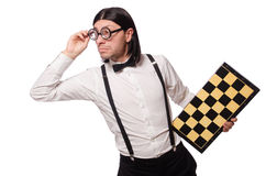 Nerd chess player isolated Royalty Free Stock Photography