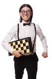 Nerd chess player Stock Photography