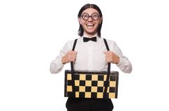 Nerd chess player Royalty Free Stock Image
