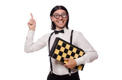 Nerd chess player Stock Image