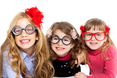 Nerd children girl group with funny glasses Royalty Free Stock Photos