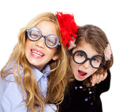 Nerd children girl group with funny glasses Stock Images