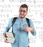 Nerd in classroom Royalty Free Stock Photo