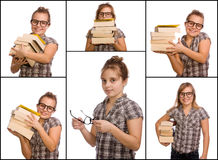 Nerd Collage. A young girl with books, collage Royalty Free Stock Photography
