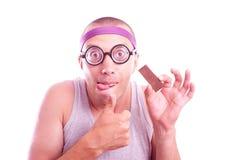 Nerd con cioccolato squisito immagini stock libere da diritti