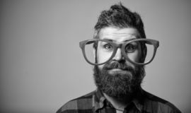 Nerd concept. Hipster looking through of giant pink eyeglasses. Man beard and mustache face wear funny big eyeglasses. Life in pink color. Naivety man. Naivety stock photo