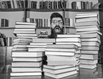 Nerd concept. Teacher or student with beard wears eyeglasses, sits at table with books, defocused. Man, nerd on. Surprised face between piles of books in stock image
