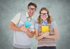 Nerd couple against light grey background with grunge overlay Royalty Free Stock Photo