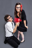 Nerd couple in love Royalty Free Stock Image
