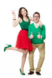 Nerd couple showing thumbs up Stock Photography