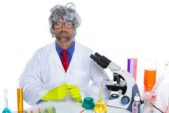 Nerd crazy scientist man portrait working at laboratory Royalty Free Stock Image