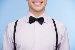 Nerd. Cropped image of young nerd man smiling while isolated on Stock Images