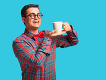 Nerd with cup Stock Photo