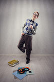 Nerd dancer. Nerd student enjoys dancing alone Royalty Free Stock Photography