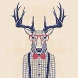 Nerd deer. Illustration of deer dressed up like nerd in shirt and jazz bow vector illustration