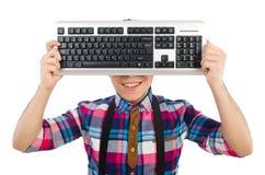 Nerd del computer con la tastiera isolata Fotografia Stock Libera da Diritti
