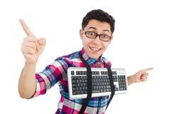 Nerd del computer con la tastiera isolata Fotografia Stock