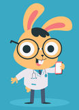 Nerd Doctor Bunny Talking on the Phone Stock Image