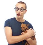 Nerd and dog Royalty Free Stock Photos