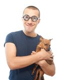 Nerd and dog Stock Photo