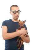 Nerd and dog Stock Photography