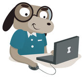 Nerd Dog Using a Computer Royalty Free Stock Image