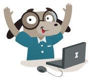 Nerd Dog Using a Computer Stock Photo