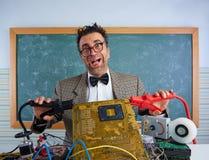 Nerd electronics technician retro silly expression Stock Photos