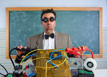 Nerd electronics technician retro silly expression Royalty Free Stock Image